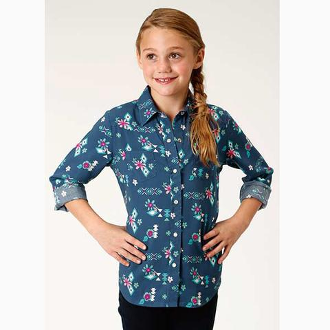 Girls Navy Aztec/Floral Shirt