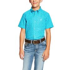 Boys Nevan SS Shirt Blue Bird