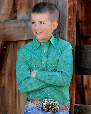 Boys Green Snap Shirt