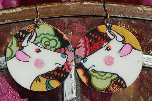 Watercolor Earrings - Flossy - White with Pink Ears
