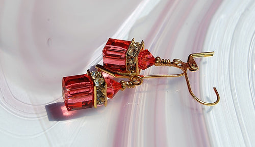 Swarovski Crystal Earrings - Padparadscha - 8mm Cube