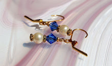 Swarovski Crystal Earrings - Sapphire with Pearls - Gold plated