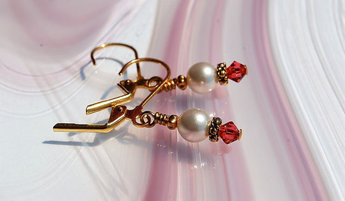 Swarovski Crystal Earrings - Padparadscha with Pearls