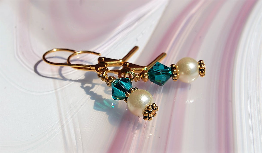 Swarovski Crystal Earrings - Blue Zircon with Pearls