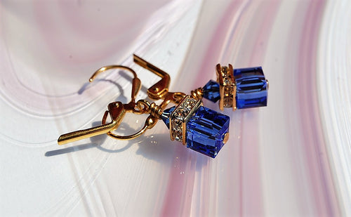 Swarovski Crystal Earrings - Sapphire - 6mm Cube - Gold plated