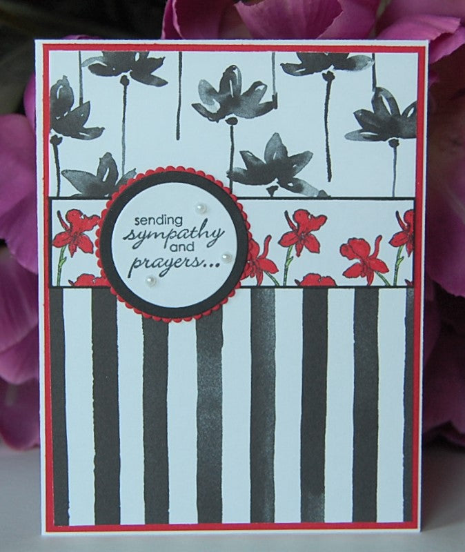 Black Stripes - Red Flowers - sending sympathy and prayers...
