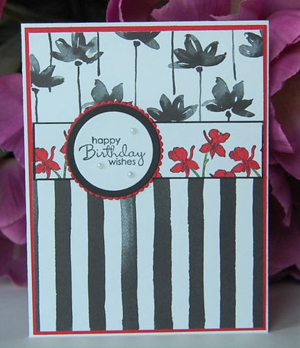 Black Stripes - Red Flowers - happy Birthday wishes