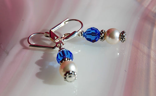 Swarovski Crystal Earrings - Sapphire with Pearls - Silver plated