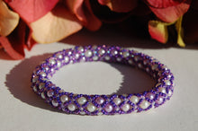 Hand Beaded Bracelet - Purple/White/Lavender