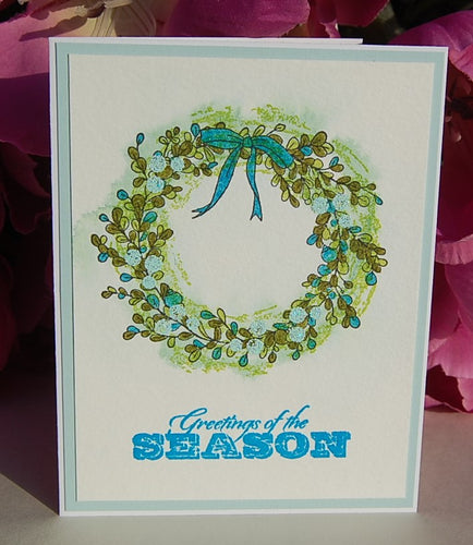 Watercolor Christmas Wreath - Greetings