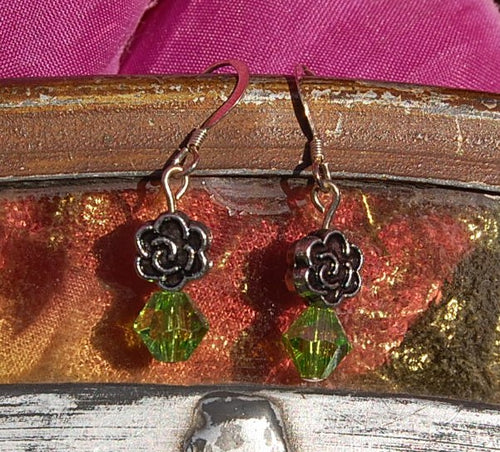 Green Bicone Earrings