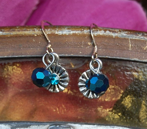 Faceted Round Blue Earrings