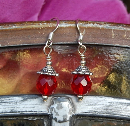 Faceted Red Earrings