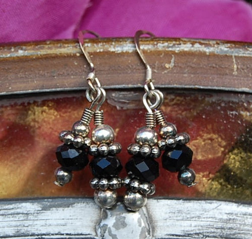 Faceted Black Earrings
