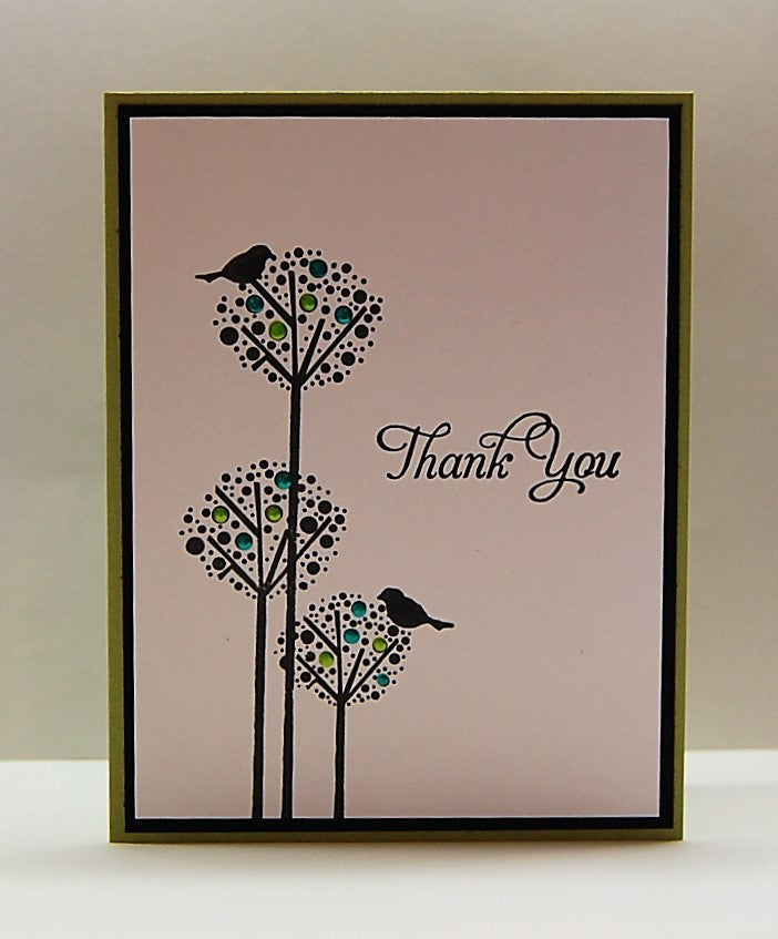 Dotted Trees & Birds - Olive - Thank You