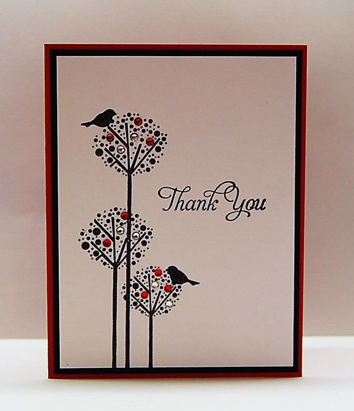 Dotted Trees & Birds - Red - Thank You