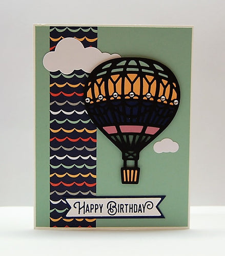 Hot Air Balloon - Black with Green Background
