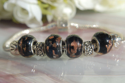 Large Hole Lampwork Beads - Black & Copper