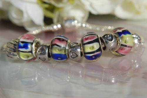 Large Hole Lampwork Beads - Blue Yellow & Pink Sections