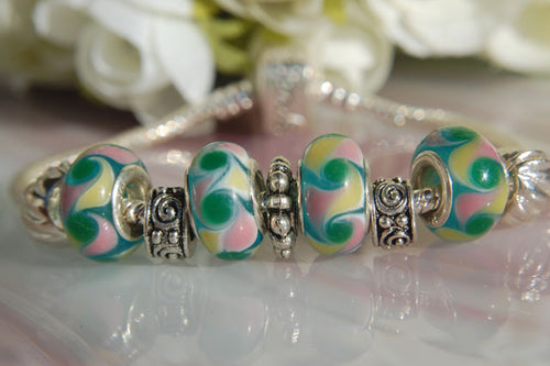 Large Hole Lampwork Beads - Green Pink & Yellow Swirls