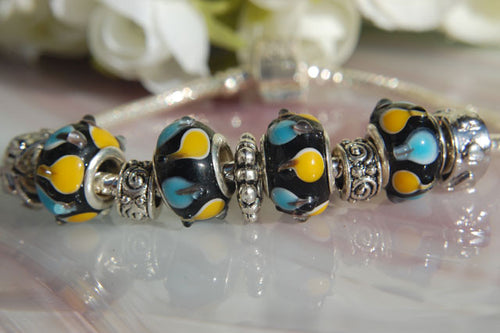 Large Hole Lampwork Beads - Blue & Yellow Spots