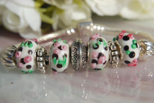 Large Hole Lampwork Beads - White with Pink & Green Dots