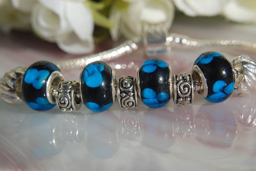 Large Hole Lampwork Beads - Blue Flower Dots