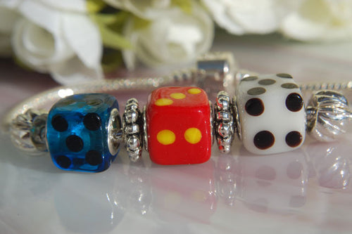 Large Hole Lampwork Beads - Dice