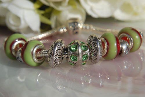 Large Hole Lampwork Beads - Green & Red Swirls