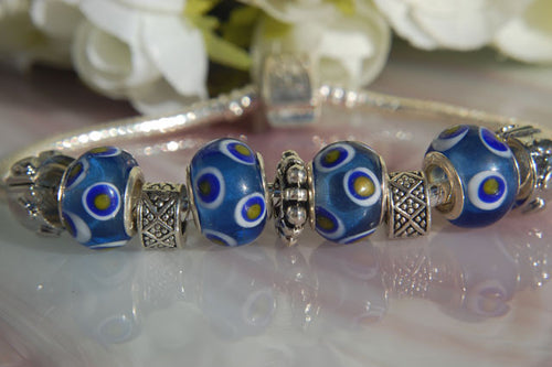 Large Hole Lampwork Beads - Blue with Cream Dots & White Circles