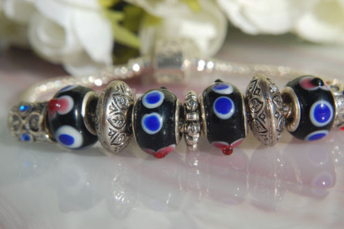 Large Hole Lampwork Beads - Black with Blue & Red Dots