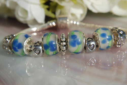 Large Hole Lampwork Beads - White with Green Lines & Blue Flowers