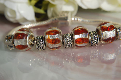 Large Hole Lampwork Beads - Silver Foil & Copper