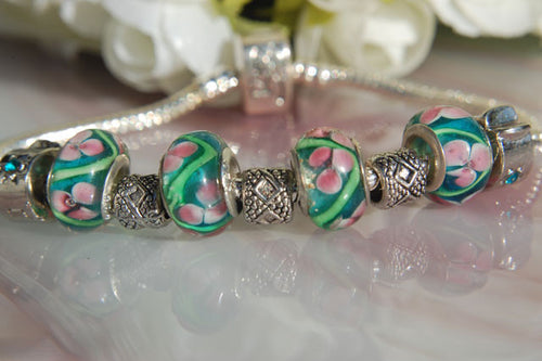 Large Hole Lampwork Beads - Green with Lines & Pink Flowers