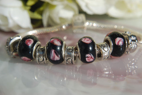 Large Hole Lampwork Beads - Black with Pink Roses