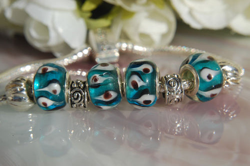 Large Hole Lampwork Beads - Blue with Flames