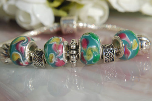Large Hole Lampwork Beads - Green with Pink & Yellow Swirls