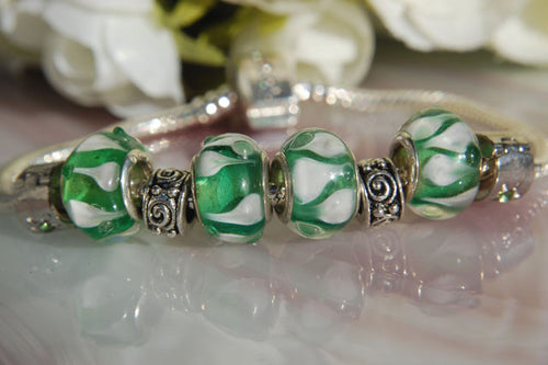 Large Hole Lampwork Beads - Green & White
