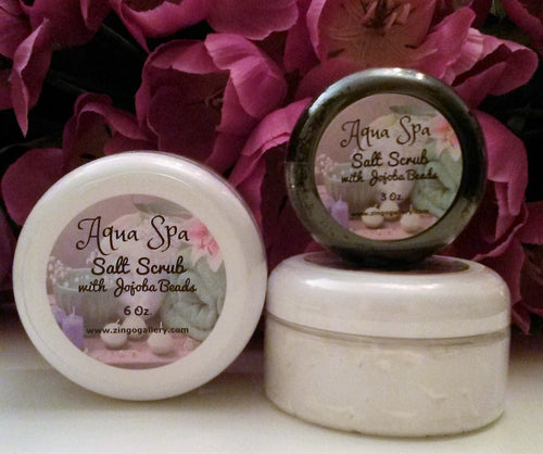Aqua Spa Salt Scrub with Jojoba Beads - 6 oz