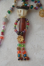 Beaded Man Necklace - Amber with Flower