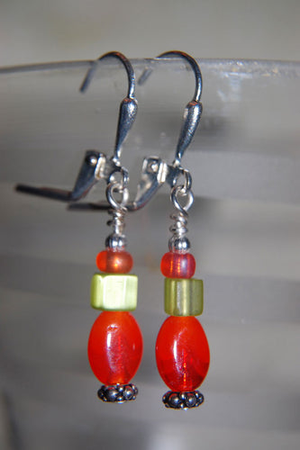 Orange Oval Earrings