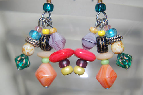 Orange Bicone Earrings
