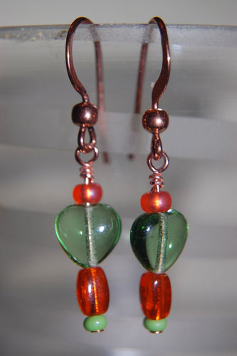 Green Hearts/Copper Earrings