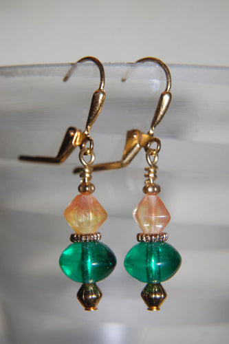 Green & Opaque Amber Earrings