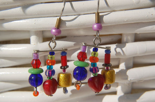 Chandelier Red Heart Earrings