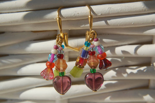Plum Heart Earrings