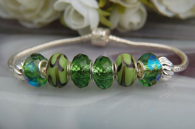 Large Hole Beads - Green Dione & Lampwork