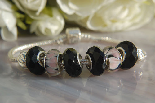 Large Hole Beads - Black Dione & Pink Lampwork