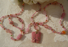 Beaded Necklace with Rhodonite Pink Elephant