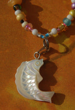 Beaded Necklace with Mother-of-Pearl White Fish
